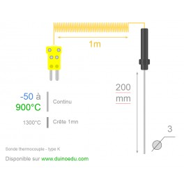 TU9 - Sonde thermocouple type K -50 à 900°C (1300°C crête) - pointe 20cm