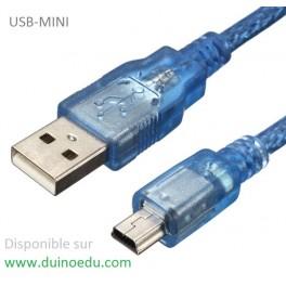 Câble Mini-USB 30cm blindé 3A (spécial FTDI&ESP32CAM)